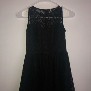 Black daisy dress with sheer top
